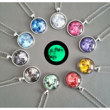 Glow In The Dark Moon Necklace Galaxy Planet Glass Cabochon Pendant Necklace