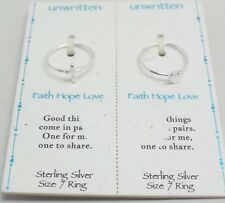 Unwritten - Set of 2 Sterling Silver Rings in Size 7: Heart & Cross