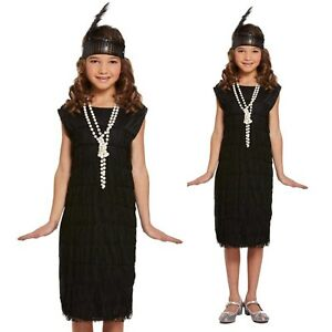 CHILDRENS KIDS GIRLS 1920S 20S FLAPPER FANCY DRESS COSTUME BLACK BOOK DAY OUTFIT