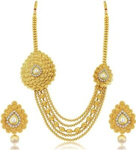 Bollywood Designer Gold Plated CZ / Pearl Necklace Set For Women Fashion Jewelry