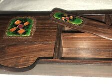 Unusual Wooden Pen Tray With Enamel Insert and Letter Opener