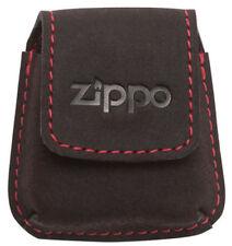 Zippo Feuerzeug Etui Leder Mocca / Schlaufe Steppnaht rot Geschenketui 2005425