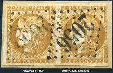 FRANCE CERES PAIRE N° 43B AVEC OBLITERATION GC 2056 LISIEUX CALVADOS COTE 250€