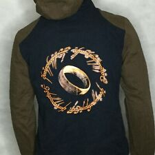 The Lord Of The Rings Hoodie Jacket Sz XXL Brown Blue One Ring Rule them All