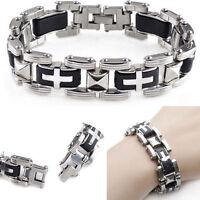 Men's Silver Cross 316L Stainless Steel Black Rubber Bracelet Bangle Wristband
