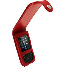Rot Leder Tasche für Sony Walkman NWZ-E473 NWZ-E474 NWZ-E473K NWZ-E474B Hülle