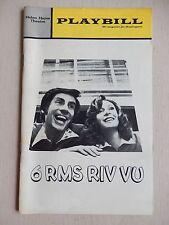 October 1972 -Opening Night - Helen Hayes Theatre Playbill - 6 Rms Riv Vu