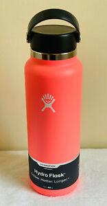 NEW! Hydro Flask Wide Mouth W/ Flex Cap Water Bottle 40 oz - HIBISCUS - SALE