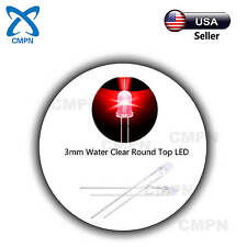 100Pcs 3mm Red LED Lamp Dip Water Clear Round Top Bright Light Emitting Diodes