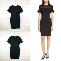 Ted Baker Livsia Lace Panel Pencil Black Dress size 8 new