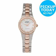 Rotary Ladies Women Girls Rose Gold Coloured and Stainless Steel Watch