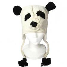 NEPALESE HAND KNIT PANDA BEAR 100% WOOL HAT