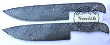 Lot of 2 Custom Made Damascus Steel Blank Blade Chef for Knife Making (SM-219)
