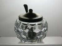 CRYSTAL CUT GLASS JAR OR TRINKET WITH SILVER PLATED LID