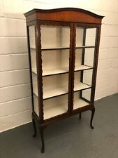 Early 20th Century Mahogany Display Cabinet On Queen Anne Legs