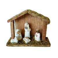 "Miniature Nativity Handmade Figurines Red Clay Wood Stable 5.5"" x 4.5"""