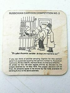Vintage SCHWEPPES ~ RUSSIAN Cartoon Competition No'2  Beer mat / Coaster