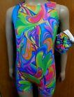 Fluorescent Multi Color Print Biketard shorty unitard Gymnastics Girls Sizes NWT
