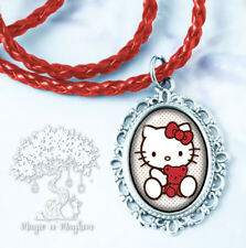 Hello Kitty with Red Teddy Bear Necklace - Handmade Children's Jewelry - Cute