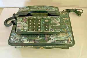 Vintage Oriental Mother of Pearl Ebonized Wood Telephone Telephone Stand 1980's