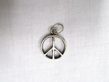 NEW HIPPIE STYLE ROUND DIMENSIONAL PEACE SIGN SYMBOL PEWTER PENDANT ADJ NECKLACE