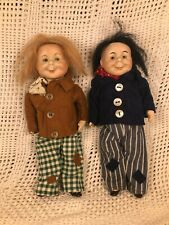 """Antique """"Max and Moritz"""" Pair - German Bisque Heads - Very Rare Set - 8"""""""