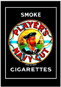 PLAYERS NAVY CUT CIGARETTES .  METAL SIGN POSTER REPRODUCTION  28 x 19 cm