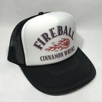 Fireball Cinnamon Whiskey Trucker Hat Mesh Vintage Style Snapback Cap Black