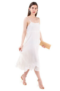 RRP €1095 COMME des GARCONS Silk Midi Sundress Size S Scalloped Made in Japan