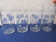 """Beautiful Home Interior """"Let It Snow"""" blue snow flake tumblers -25 B"""
