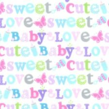 Fabric Baby Sweet Words on White Flannel by the 1/4 yard BIN
