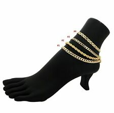 Ankle Bracelet 14K Italy Gold Plated Cuban Curb Link Chain Rope Mariner Anklet