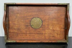 Vintage Chinese Carved Wood & Brass Tea Serving Tray