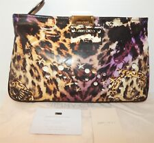 Jimmy Choo Leopard Chain Star Stud Medium PVC Clutch Bag Italy