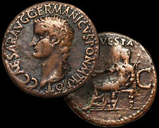 CALIGULA (Gaius) - Roman Emperor / VESTA 37-41 AD. / Æ As ROME Coin +COA GGcoins