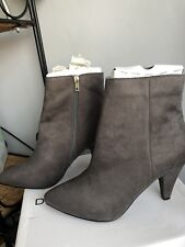 GREY SUEDE ANKLE BOOTS - SIZE 7 - 3.5 INCH HEEL - DOTTY P - BRAND NEW IN BOX