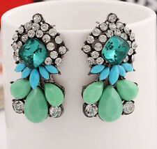 Hot Fashion Charm Party Resin Water Drop Crystal Flower Statement Stud Earring
