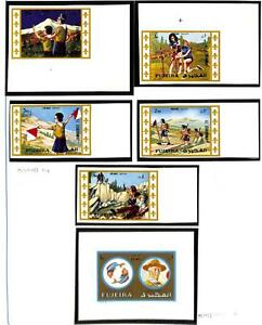 FUJEIRA BOY SCOUTS MICHEL #707-11 IMPERF STAMP SET & 1313 DELUXE PROOF MNH