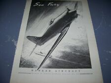 "1947 HAWKER SEA FURY ""SEA FURY""..1-PAGE SALES AD..(811X)"