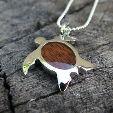 Hawaii Jewelry Koa Wood Honu Turtle Silver Rhodium Plated Brass Pendant BRP1111