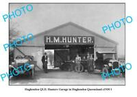 OLD LARGE PHOTO HUGHENDEN QUEENSLAND HUNTERS MOTOR GARAGE c1930 1
