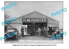 OLD LARGE PHOTO, HUGHENDEN QUEENSLAND, HUNTERS MOTOR GARAGE c1930 1