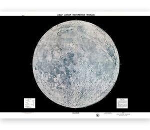 Vintage Moon Map 1966 US Air Force Lunar wall art poster print