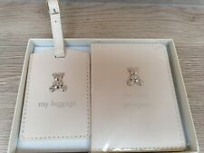 Cream Babies First Passport and Luggage Tag Silver Teddy Gift set Ideal Gift