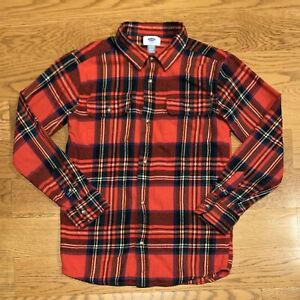OLD NAVY Red Plaid Button Down Long Sleeve Flannel Shirt Boys Sz XL Extra Large