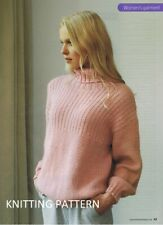 (423) Ladies Sweater COPY Knitting Pattern, Easy Knit Design in Aran. 86-107 cm