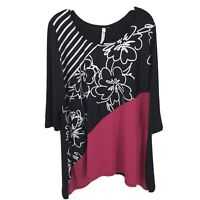 NY Collection 2X Top Blouse Shirt 3/4 Sleeve Floral Black Pink Plus Size New