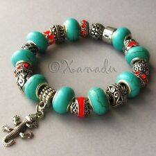 Turquoise Gemstone European Style Charm Bracelet With Red Southwest Theme Charms