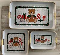 Vintage Japanese Christmas Bear Serving Trays Vinyl Set Of 3