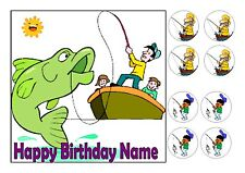 """GONE FISHING CAKE TOPPER SQUARE EDIBLE ICED ICING 7.5""""+8 CUPCAKE TOPPERS"""